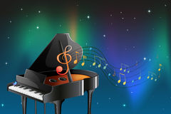 A black piano with musical notes Royalty Free Stock Image