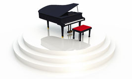 Black piano on stage 02. Black piano on white background stock illustration