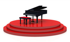 Black piano on stage 04 Stock Image