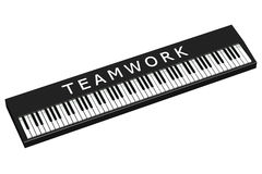 Black piano with word teamwork. Isolated on white background.  3D render Royalty Free Stock Photography