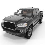 Black Pick up Truck on white. 3D illustration Stock Photo