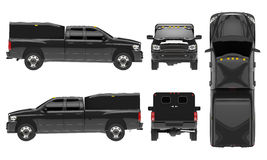 Black pickup truck template isolated car on white background. 3d illustration. Stock Photos