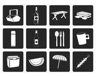 Black Picnic and holiday icons. Vector icon set Royalty Free Stock Photography