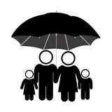 Black pictogram of umbrella protecting family group Royalty Free Stock Photos