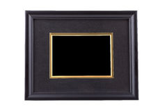 Black picture frame with golden rim isolated on white with clipp Stock Photos