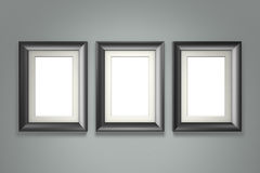 Black picture frame on gray wall Stock Photo