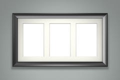 Black picture frame on gray wall royalty free illustration