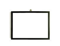 Black picture frame on white wall Stock Photos