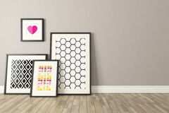 Black picture frames decor, background, template design Royalty Free Stock Photos