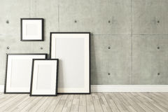 Black picture frames decor with concrete wall, background Stock Photography