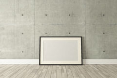 Black picture frames decor with concrete wall, background, templ Stock Photo