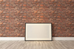 Black picture frames decor with red natural brick wall, backgrou Stock Image