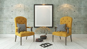 Black picture frames with double yellow bergere and concrete wal. Picture frames with double yellow bergere and concrete wall decor, background, template design Stock Photography