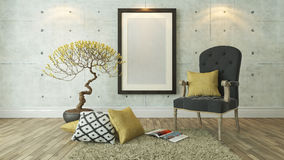 Black picture frames with gray bergere and yellow pillow backgro. Picture frames with gray bergere and yellow pillow decor, background, template design Stock Image