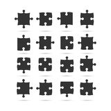 Black Piece Puzzle Jigsaw. Vector Object. 16 Black Piece Flat Puzzle Round Infographic Presentation. 16 Step Suqare Business Diagram. Set Section Compare Royalty Free Stock Photos