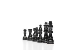 Black pieces of chess Royalty Free Stock Photo