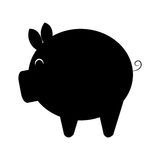 Black pig moneybox, graphic Royalty Free Stock Image