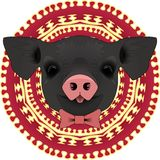 Black pig with tongue sticking out royalty free illustration
