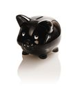Black piggy bank Stock Images