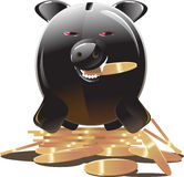Black piggy bank Royalty Free Stock Image