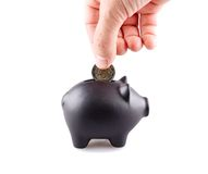 Black piggy bank Royalty Free Stock Photography