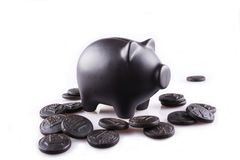 Black piggy bank with black money. On the white background Stock Image