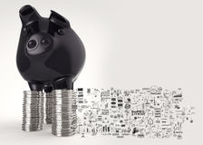 Black piggy bank 3d standing over coin Royalty Free Stock Photography