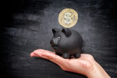Black piggy bank and golden coin with dollar sign Royalty Free Stock Photos