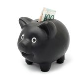 Black piggy bank Stock Photos