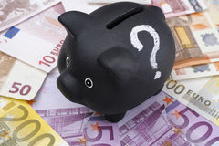 Black piggy bank with question mark and euro banknotes Stock Photography