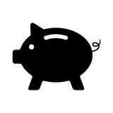 Black piggy bank  on white background. Concept of banking, deposit, richness and saving money. logo design modern vector illustration Stock Photo