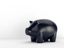 Black piggy bank on white background Royalty Free Stock Photos