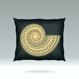 Black Pillow with ornament shell Royalty Free Stock Image