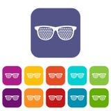 Black pinhole glasses icons set Royalty Free Stock Image