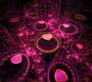 Black and pink background. Fractal hearts flying in dark space. Circles of water drops. Dotted rays beam from surface. 3d render Vector Illustration
