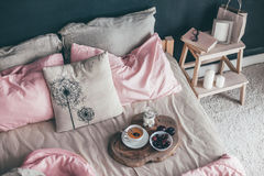 Black and pink bedroom in loft style Stock Images