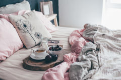 Black and pink bedroom in loft style Stock Photography