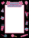 Black and pink birthday frame Royalty Free Stock Images