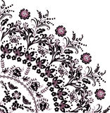 Black with pink flower quadrant ornament Royalty Free Stock Images