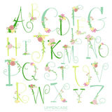 Black pink green colorful ink alphabet letters Stock Images