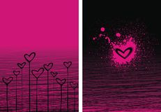 Black and pink hearts. For design and background royalty free illustration