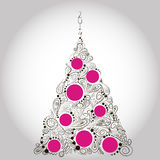 Black and pink x-mas tree. The openwork elegant christmas tree with balls Stock Photos