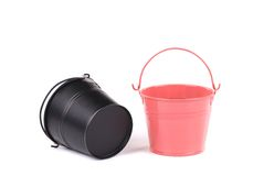 Black and pink pail. Isolated on a white background stock photos