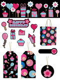 Black and pink party items Royalty Free Stock Images
