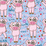 Black pink pig seamless pattern Royalty Free Stock Photography