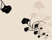 Black pink poppy background. Black poppy illustration on a pink background Stock Photo