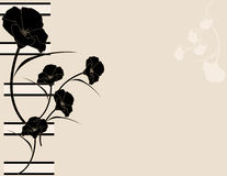 Black pink poppy background. Black poppy illustration on a pink background Royalty Free Stock Photo