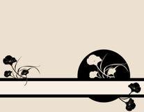 Black pink poppy banner backgr. Black poppy illustration on a pink background Stock Images