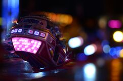 Black and Pink Speed Vehicle With Lights on Background Stock Image
