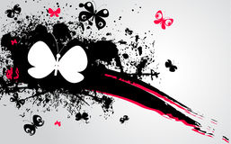 Black, pink stain and butterflies Royalty Free Stock Images